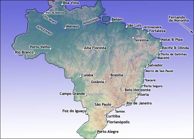 brasil kart Kart over Brasil. Se strender, byer, elver og øyer. brasil kart